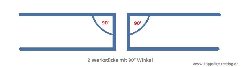 Kappsäge - Hinterschnittfunktion - 2 Werkstücke mit 90° Winkel
