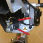 Kappsäge einstellen - 18. Abb. Laser Justier Schrauben